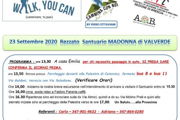 Mercoledì 23 settembre WALK, YOU CAN! a Rezzato
